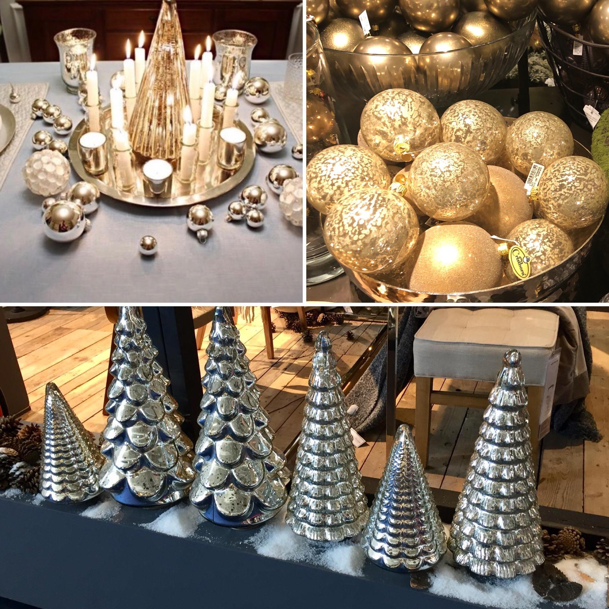 Table de Noël dorée et argentée
