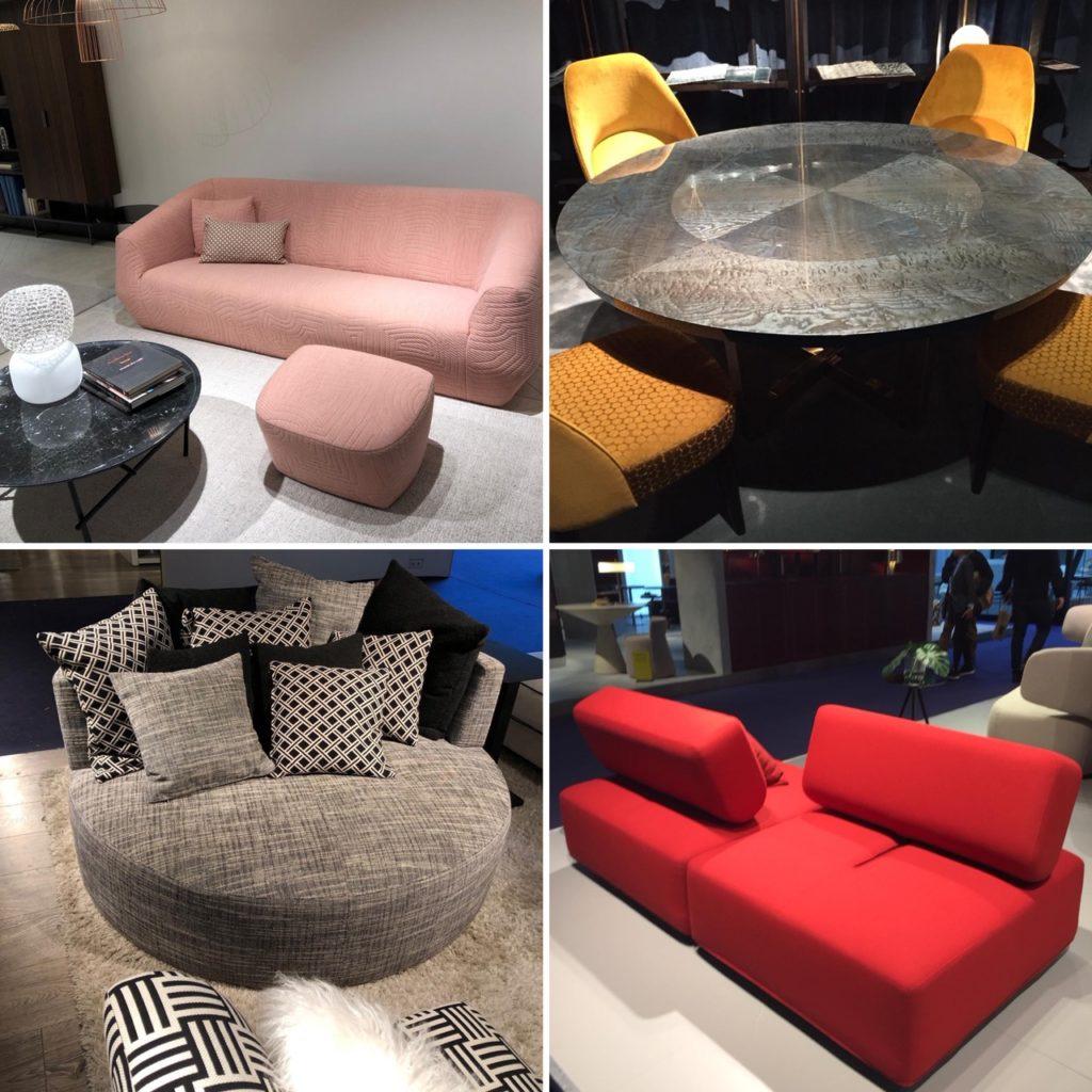 Grand canapé aux formes arrondies, grandes tables rondes, des tendances déco 2019 très cosy